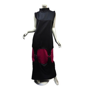 Crimson Empress Cyber Maxi Dress Black Fuchsia